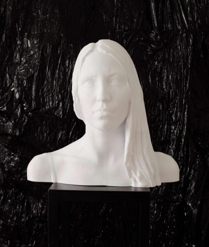 3D printed self portrait 2019. 3D printer as large as life 2