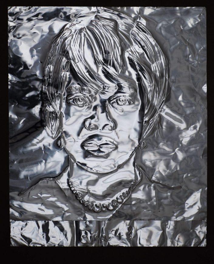 Bina 48 2019. scratch on aluminium foil paper 305 x 245 cm