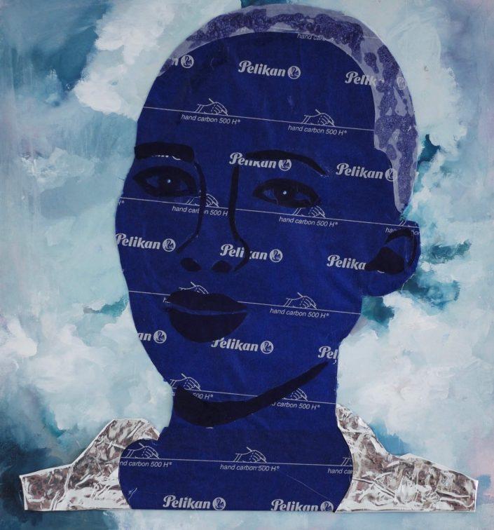 Cloud 2018. carbon tracing paper foil on paint 35 x 33 cm