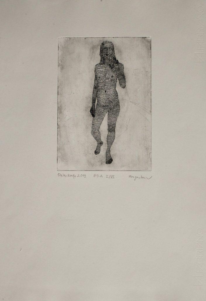 Data body 2019. E.A. copper engraving 50 x 35 cm