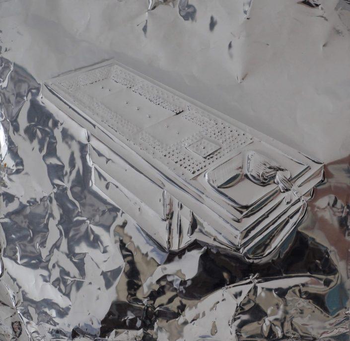 Dissection table 2019. scratch on aluminium foil paper 25 x 25 cm
