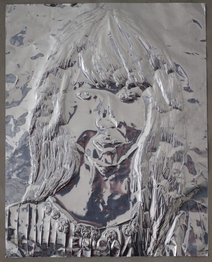 Erica 2019. scratch on aluminium foil paper 305 x 245 cm