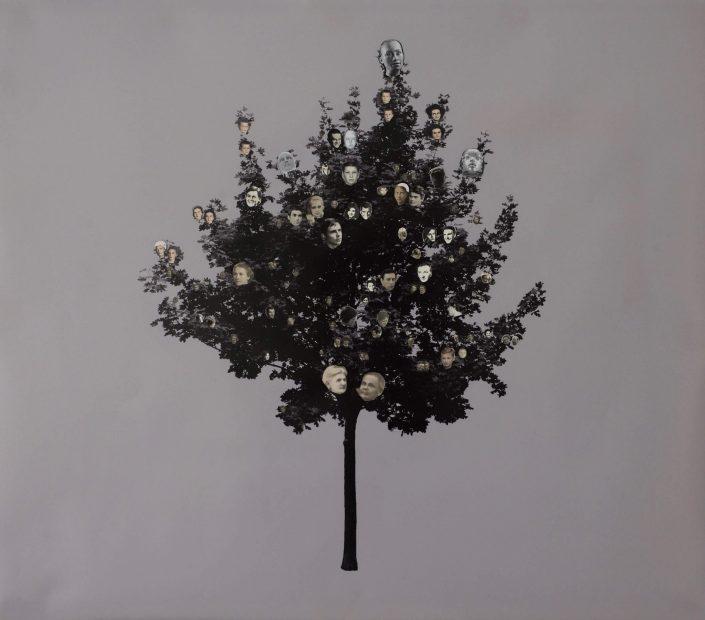 Family tree 2019. vintage photo photoprint 69 x 79 cm
