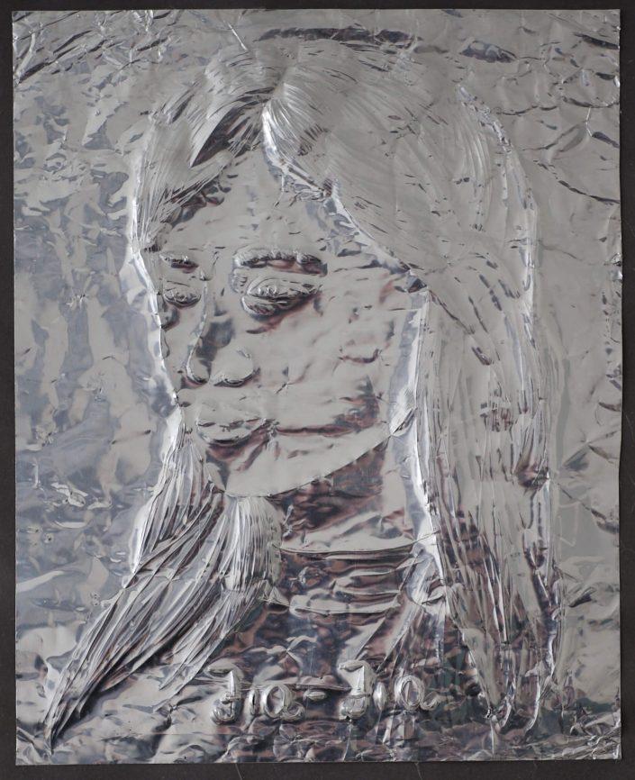 Jia Jia 2019. scratch on aluminium foil paper 305 x 245 cm