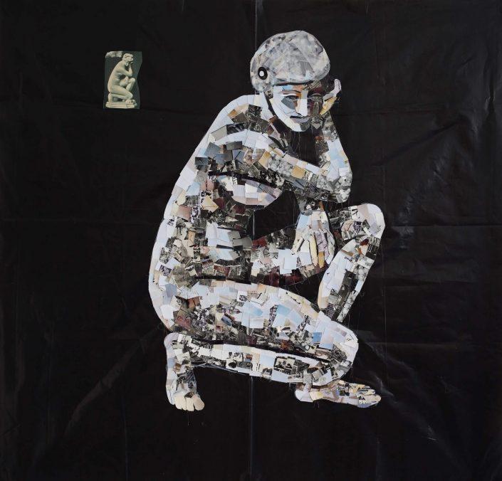 Kneeling Venus 2019. cuted photos on rubbish bag 100 x 100 cm