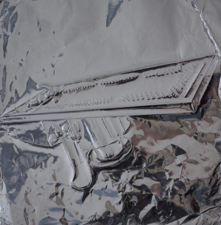 Levitation 2019. scratch on aluminium foil paper 25 x 25 cm