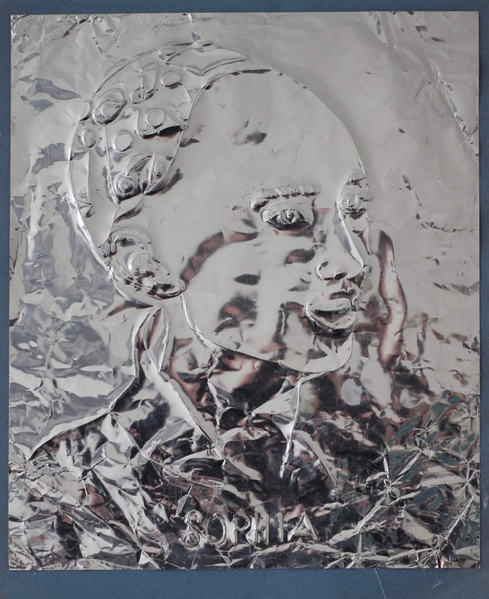 Sophia 2019. scratch on aluminium foil paper 305 x 245 cm