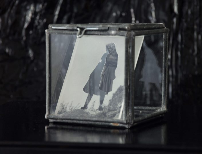 Stand 2019. cuted photography in glass cube 9 x 9 x 9 cm