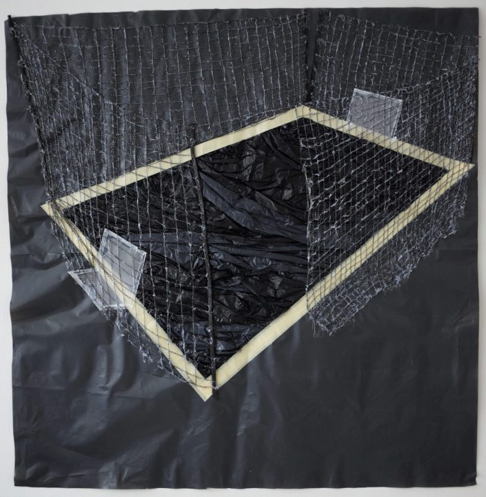 Swimming pool 2019. thread tracing paper masking tape rubbish bag 110 x 107 cm