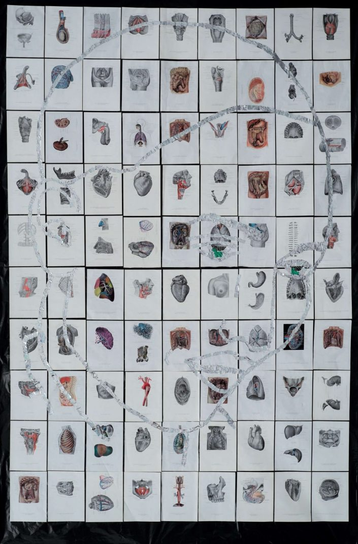 To own face 2019. mirror foil anatomy album on rubbish bag 295 x 192 cm