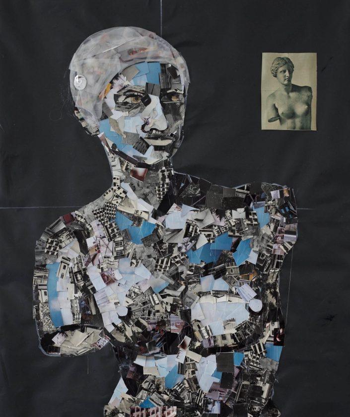 Venus 2019. cuted photo on rubbish bag 65 x 55 cm