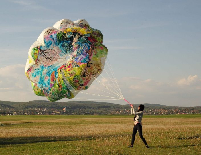 Floating exhibition 2019. acrylic on rescue parachute