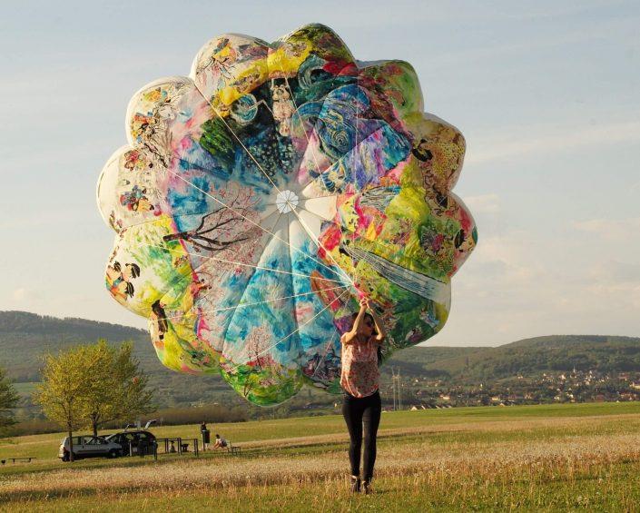 Floating exhibition Ukijo e 2019. acrylic on rescue parachute