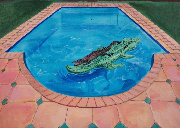 Pool with two crocodile 2020. acrylic on canvas 50 x 70 cm