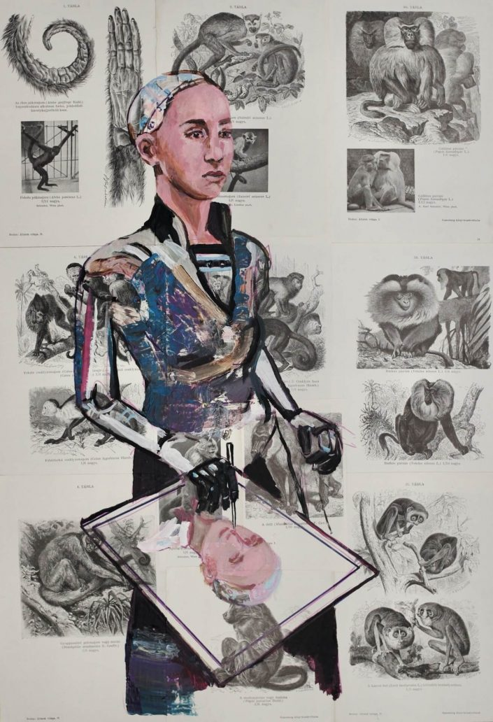 Sophia robot drawing a selfportrait 2020. acrylic on paper old book page 70 x 50 cm