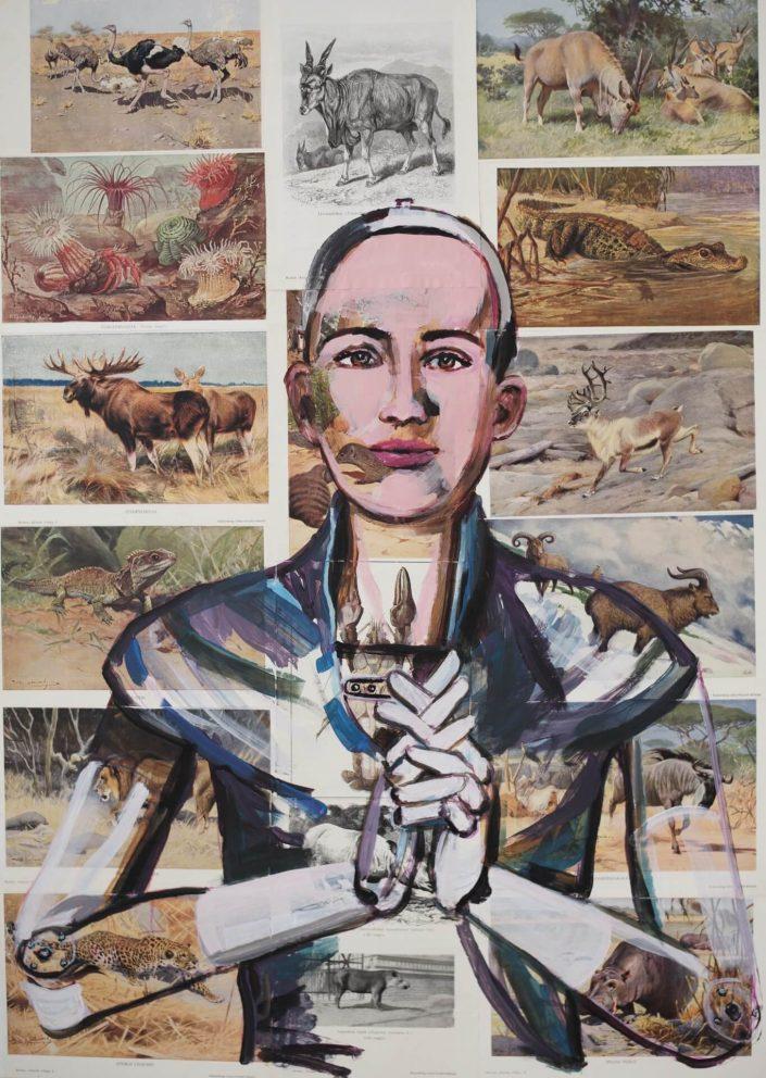 Sophia robot prays for animals on the verge of extinction 2020. acrylic on paper 84 x 60 cm