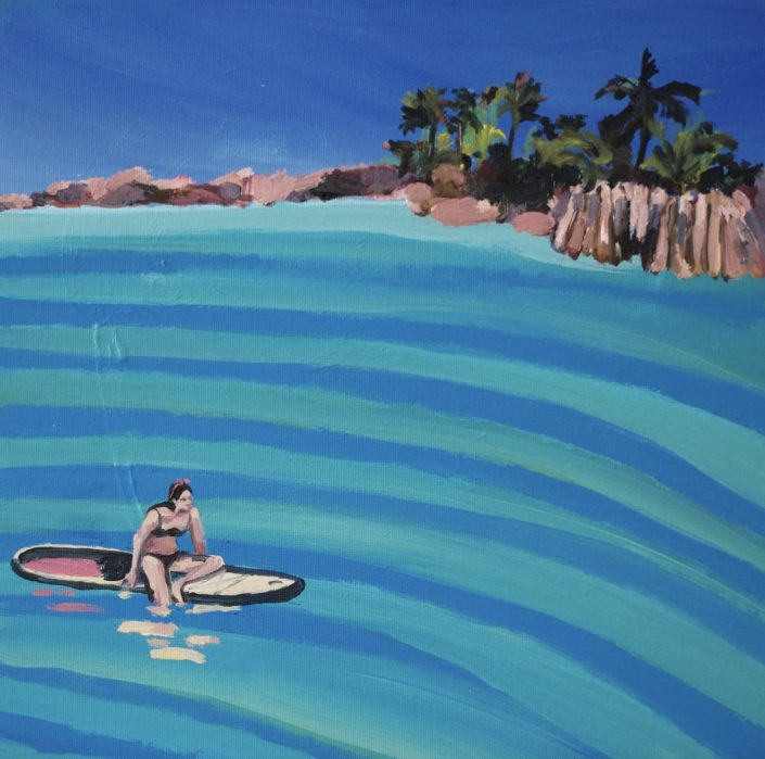 Sup and summertime 2020. acrylic oil on panel 30 x 30 cm