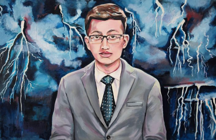 The storm AI Chinese robot news anchor 2019. oil on canvas 73 x 113 cm