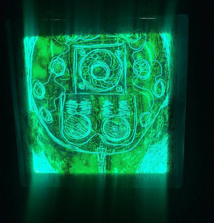 Robot head 2021 monotype LED panel 20 x 20 cm